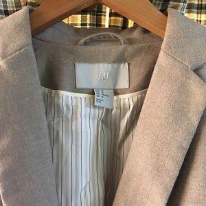 Adorable H&M Tan Linen Blazer! Striped Lining, 10
